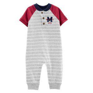 Baby Boy Newborn Varsity Jumpsuit Romper Cotton